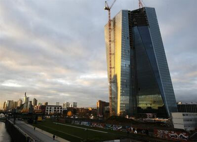 The new headquarter of the European Central Bank is still under construction in the eastern part of Frankfurt, Germany, Thursday, Nov.7, 2013. The ECB lowered its key interest rate to 0.25 per cent. (AP Photo/Michael Probst)