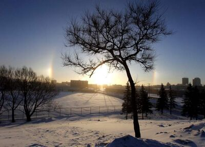 Sun dogs, seen from the Slaw Rebchuk bridge.