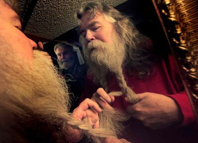 A participant takes part in the Festival du Voyageur beard-growing contest in 2011.