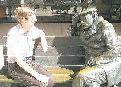 SUPPLIED PHOTOAnderson shares a moment with Gould�s statue outside the Glenn Gould Studio.