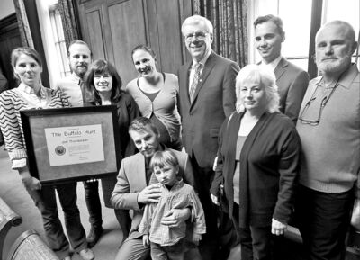 Jon Thordarson's widow, Janice (third from left), and other family members with Premier Greg Selinger.