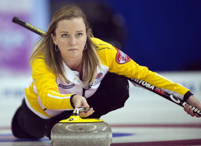 Manitoba skip Chelsea Carey takes a shot during her match against Ontario at the Scotties Tournament of Hearts draw 15 curling action on Thursday in Montreal.