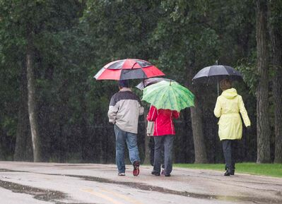 The rain didn't stop people from getting outside and being active Sunday morning in Assiniboine Park.