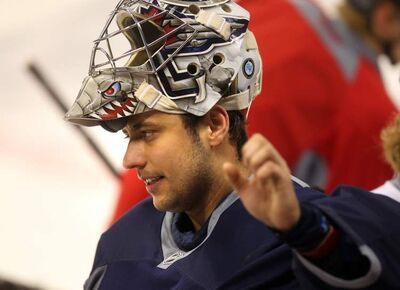 Netminder Ondrej Pavelec at a team workout Friday.