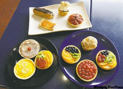 Selection of pastries and tarts from Prairie Ink's brunch buffet.