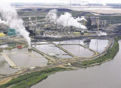 So-called tailing ponds at the Alberta tar sands project can be seen from outer space.