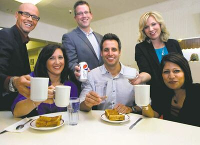 From left to right, Jeremy John,  Eva Kovacs, Derek Taylor (standing), Kris Laudien, Courtney Ketchen and Eleanor Coopsammy.