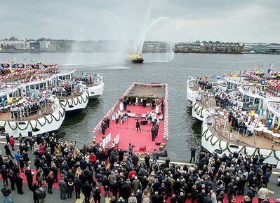 Four of 10 new Viking 'Longships' were christened in Amsterdam, and the others in Rostock, Germany.