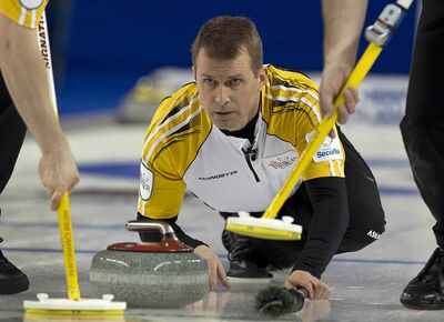 Manitoba skip Jeff Stoughton delivers rock during a win over Nova Scotia Tuesday  at the Tim Hortons Brier in Kamloops, B.C.