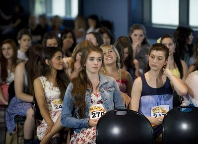 Colleen Furlan, right, waits to audition for the role of Dorothy during the auditions for Over The Rainbow in Toronto on Thursday June 21, 2012.