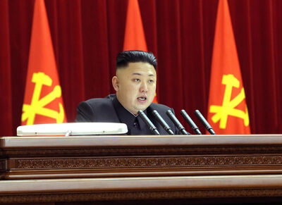 North Korean leader Kim Jong Un gives a speech during a plenary meeting of the central committee of the ruling Workers' Party in Pyongyang, North Korea last month.