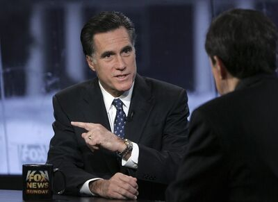 FILE - In this Sunday, Jan. 6, 2008, file photo, Republican presidential hopeful former Massachusetts Gov. Mitt Romney speaks with Chris Wallace on FOX News Sunday in Manchester, N.H. Wallace said on Sunday, Feb. 24, 2013, that he has landed the first post-election interview with Romney and his wife, Ann. The interview will air on his show next week (AP Photo/LM Otero, File)