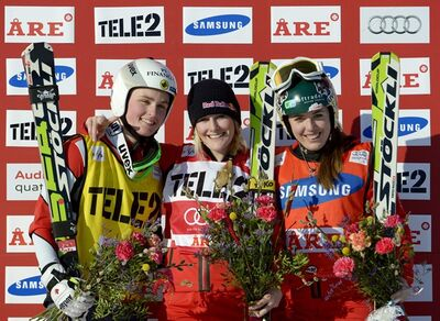 CAPTION CORRECTION, CORRECTS LEFT TO RIGHT - Fanny Smith of Switzerland, center, Canada's Marielle Thompson, left, and Katrin Mueller of Switzerland pose on the podium following the FIS Freestyle Skiing World Cup women's Ski Cross in Are, Sweden, Sunday, March 17, 2013. Smith placed first, Thompson second and Mueller third. (AP Photo/Scanpix Sweden,Janerik Henriksson) SWEDEN OUT