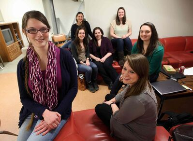 Computer science team captain Diana Carrier (front, from left), Shelby Bernhard and Hayley Guillou are heading to Montreal, along with Vanessa Reimer (rear, from left) Adrienne Pind, Lauren Slusky and Caitlin Martins.