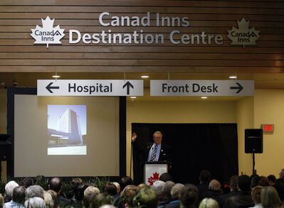 Canad Inns President Leo Ledohowski opens the new hotel.
