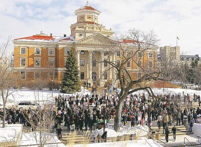 About 500 people attend a union protest outside the University of Manitoba administration building Wednesday to protest administration policies from privatization to budget cuts.