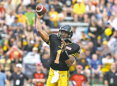 Tiger-Cats quarterback Henry Burris completed  18 of 35 for 229 yards.
