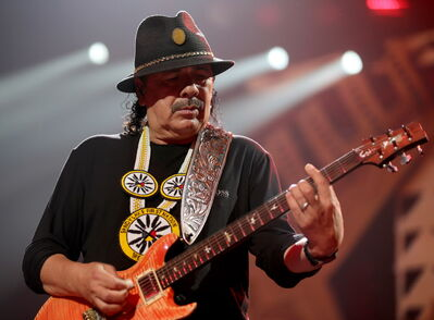 Carlos Santana performs before Rod Stewart at MTS Centre Friday.