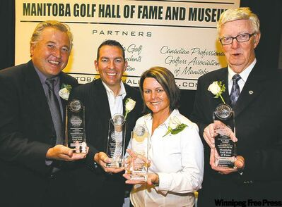 Manitoba Golf Hall of Fame's four newest inductees are introduced at a ceremony at McPhillips Station Casino Monday night. From left, Terry Hashimoto, Rob McMillan, Aileen Robertson and Bob Picken.