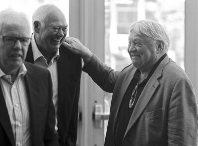 Ulf Nilsson, Ab McDonald and Bobby Hull (from left), teammates on the original Jets, share some humour as they arrive at the Don Baizley memorial service.