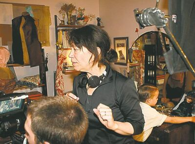 Director Shelagh Carter on the set of Passionflower.
