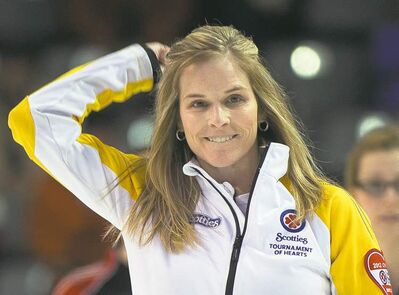 Ryan Remiorz / the canadian pressManitoba skip Jennifer Jones shows her satisfaction after tossing the winning rock against Team Ontario at the Scotties Tournament of Hearts Thursday.
