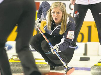Andrew Vaughan / THE CANADIAN PRESSScotland skip Eve Muirhead directs the sweep against Canada at the world women�s curling championship in Riga, Latvia on Saturday.