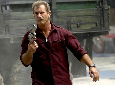 Mel Gibson plays Conrad Stonebanks, co-founder of the Expendables.