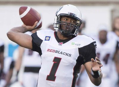 Ottawa Redblacks' quarterback Henry Burris throws a pass against the Montreal Aloutttes during first half CFL action in Montreal on June 20. The veteran QB will lead the expansion team when they play their first real game Thursday in Winnipeg.