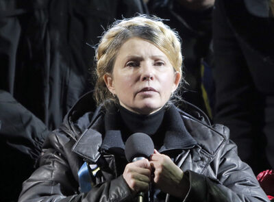 Former Ukrainian prime minister Yulia Tymoshenko addresses the crowd in central Kyiv, Ukraine on Saturday.