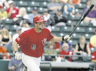 Hot-hitting Goldeyes shortstop Wes Long, who is batting .368, clobbers out another hit Thursday at Canwest Park.