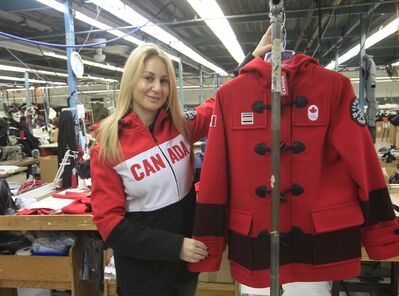 Marissa Freed of Freed & Freed wears one of the styles of the Canadian Olympic team's outerwear the company has produced.