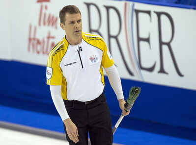 Manitoba skip Jeff Stoughton heads down the ice as they play Saskatchewan at the Tim Hortons Brier in Kamloops, B.C. on Wednesday, March 5, 2014. Manitoba won 9-6.