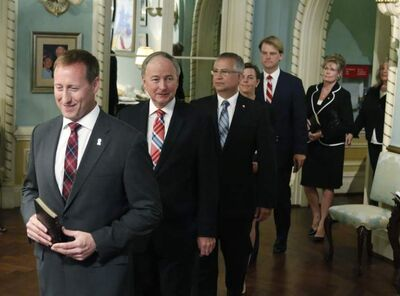 From left: Peter MacKay, Minister of Justice; Rob Nicholson, Minister of Defence; Gary Goodyear, Minister of the Federal Economic Development Agency for Southern Ontario; Kellie Leitch, Minister of Labour; Chris Alexander, Minister of Citizenship and Immigration; and Shelly Glover, Minister of Heritage arrive for the swearing in of the federal cabinet at Rideau Hall in Ottawa on Monday.