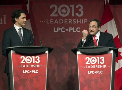 Justin Trudeau, left, and Martin Cauchon take part in the Liberal party leadership debate in Montreal on Saturday, March 23, 2013. THE CANADIAN PRESS/Ryan Remiorz