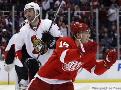 In this file photo, defenceman Derek Meech (14) celebrates in front of Ottawa Senators centre Matt Cullen on a goal by Red Wings centre Pavel Datsyuk (not shown) during first period of an NHL game Saturday, Feb. 13, 2010, in Detroit.