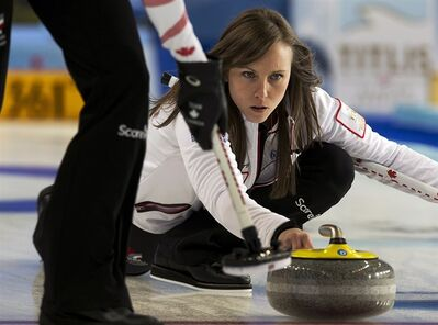 Canada's skip Rachel Homan delivers a stone against China at the world women's curling championship in Riga, Latvia on Thursday, March 21, 2013. Canada won 7-4. THE CANADIAN PRESS/Andrew Vaughan