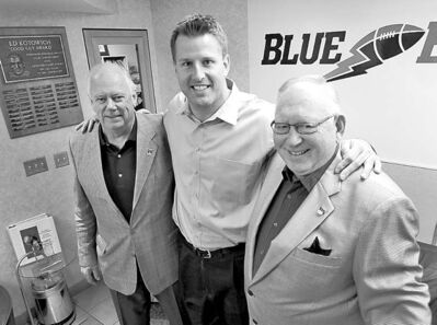 Doug Brown will be inducted into the Blue Bombers Hall of Fame on June 18 along with former club presidents Ken Matchett (left) and Reg Low.