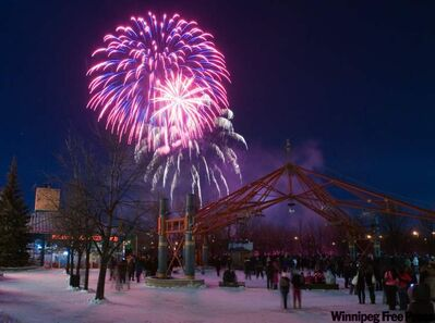Thousands enjoy the New Year's Eve fireworks display at The Forks every year.