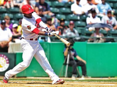 Winnipeg Goldeyes slugger Yurendell de Caster busted out of his slump Sunday afternoon. Here he connects for a first-inning RBI.