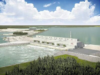 A drawing of the planned of Keeyask Dam generating station. Tory MLA Ron Schuler is having a hard time following the money.