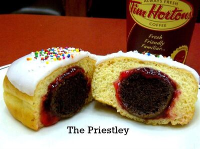 """The Priestley"" donut is shown in a handout photo from Tim Hortons.A sitcom gag about the ubiquitous presence of Tim Hortons has inspired the company to create a suitably outlandish doughnut.A recent episode of City's '��How I Met Your Mother'�� featured a cameo by Canadian star Jason Priestley, who boasted of a confection he dubbed '��The Priestley.'�� THE CANADIAN PRESS/HO-Tim Hortons"