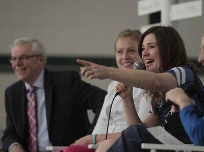 Clara Hughes (right) beside Tessa Blaike and Premier Greg Selinger at Elmwood High School Monday morning speaks to students as part of Clara's Big Ride for Bell Let's Talk for mental health.