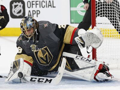Vegas Golden Knights goaltender Marc-Andre Fleury has had sparkling numbers this playoffs.