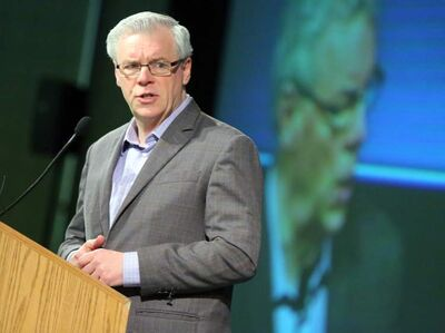 Premier Greg Selinger speaks during the NDP convention in Brandon Sunday.