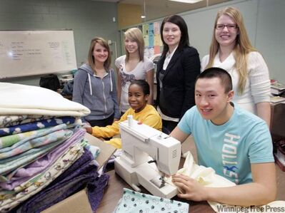 The Garden City blanket brigade: Top from left: Leah Harz, Haley Koss, Seven Oaks psychologist Chantal Wiebe, teacher Nikki Dirks. Front from left: Shanna Quashie, Kevin Li.