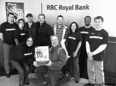 Members of the Pennies super sponsors: RBC's Adam Wood (standing, from left), Heather Clancy, Doc Walker members -- Murray Pulver, Chris Thorsteinson and Dave Wasyliw, RBC's Lil Di Martino, Terry Mathurin and Andrew Sheldon. Linda Romsa of RBC (kneeling) presents Kevin Rollason with one of many penny-filled bins.