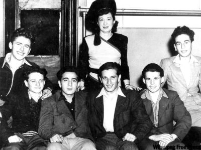 John (far right) in 1947 soon after arriving in Winnipeg, with social worker Thelma Tessler and fellow war orphans David Ehrlich, Anton Deutsch, Ernest Green, László Greenspan,and Eugene Josef.