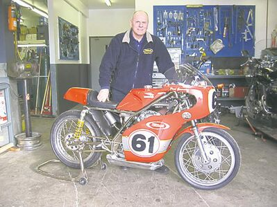 Paul Germain of Wildwood Sports with a vintage Ducati-powered motorcycle.