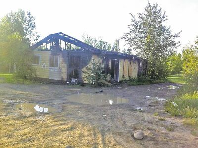 The RCMP community office in St. Theresa Point First Nation lies in ruins after a suspicious fire early Sunday morning.